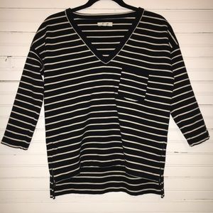 MADEWELL SMALL STRIPED TOP W/ ZIPPERS & POCKET.